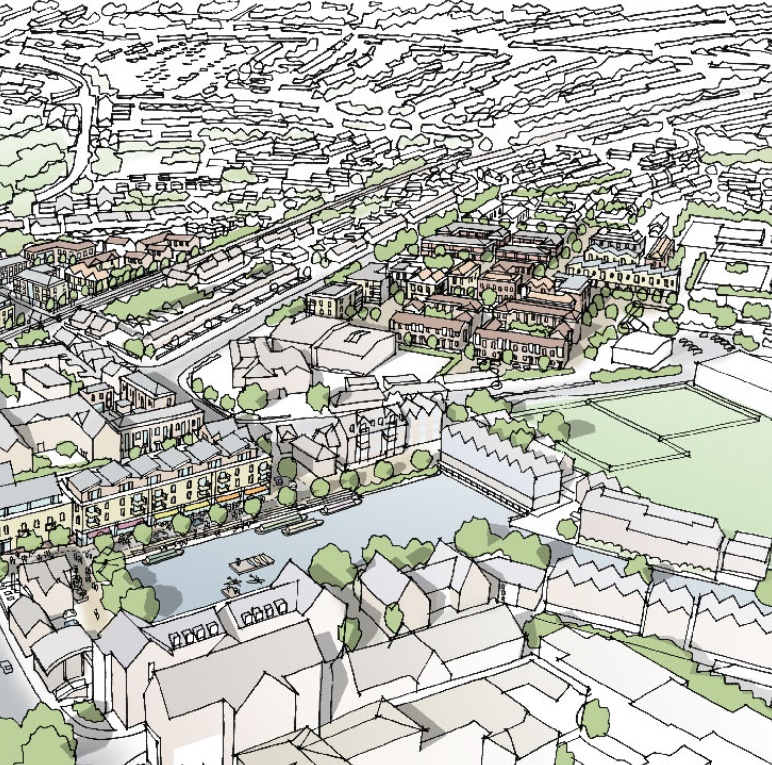 Artist's drawing of the Southern Gateway area in Chichester