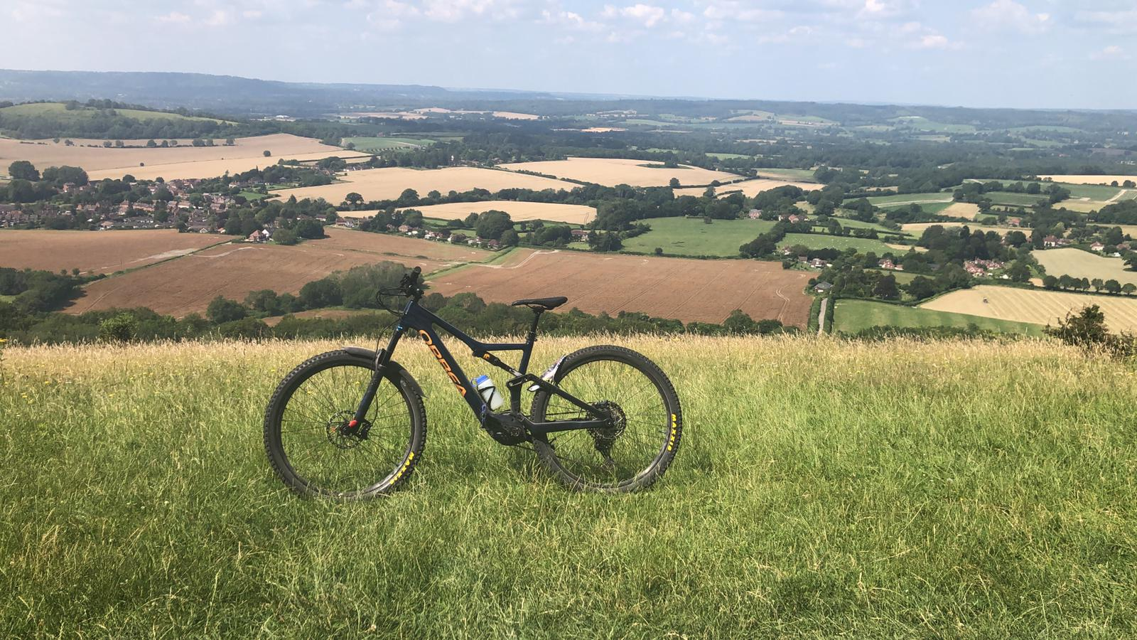 Bike on hill in South Downs National Park